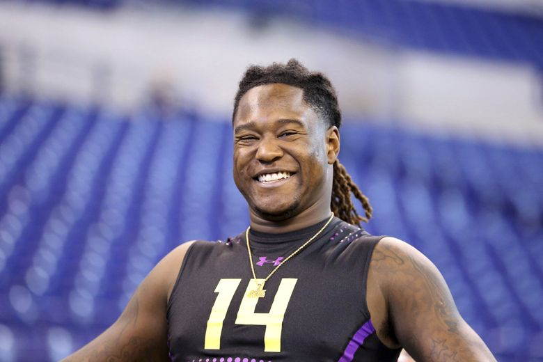 Central Florida linebacker Shaquem Griffin at the 2018 NFL Scouting Combine. (AP Photo/Gregory Payan)