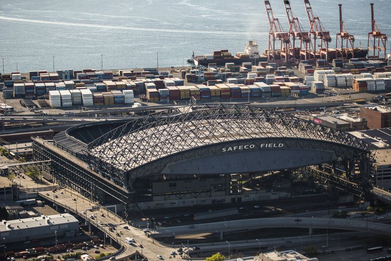 Safeco Field as seen from the air. (Dean Rutz / The Seattle Times)