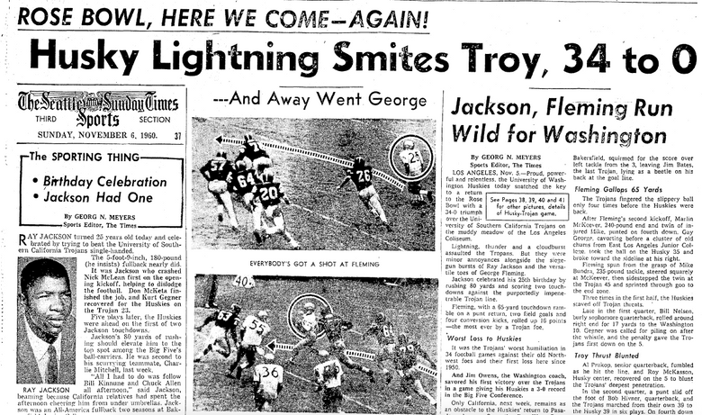 Ray Jackson on the cover of The Seattle Times Sports section, Nov. 6, 1960. (Seattle Times archives)