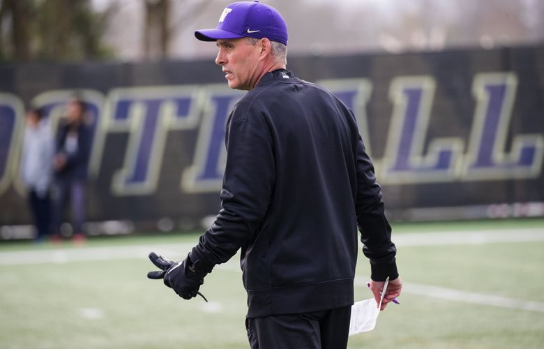 Husky head coach Chris Petersen during the first day of spring practice for the UW football team on March 28, 2018. (Mike Siegel / The Seattle Times)