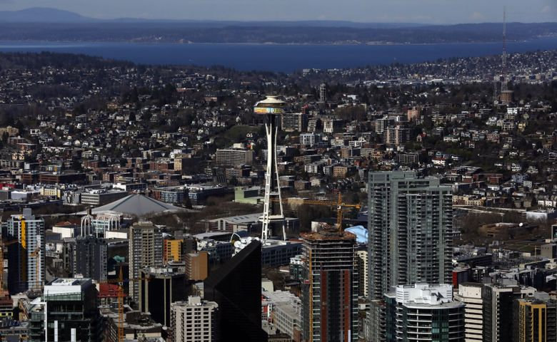 The Space Needle is one of many establishments that has closed its doors for the month due to novel coronavirus concerns. (Ellen M. Banner/The Seattle Times)