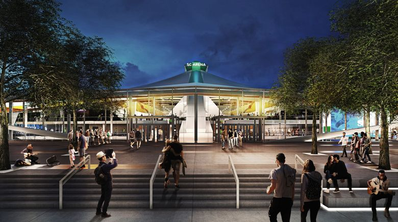 An artist's rendering of what KeyArena will look like after what's now estimated to be a $900 million renovation is completed. A media tour of the construction site takes place Thursday afternoon. (Oak View Group)
