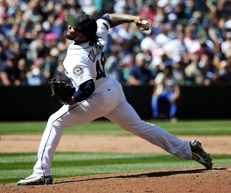 Mariners closer Alex Colome on the mound in the ninth inning against the Twins, Sunday, May 27, 2018 at Safeco Field in Seattle. (Ken Lambert / The Seattle Times)