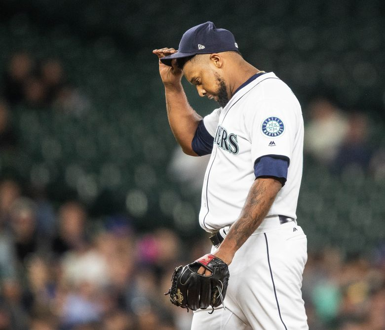 Seattle pitcher Juan Nicasio gives up the tying run in the 8th.  (Dean Rutz / The Seattle Times)