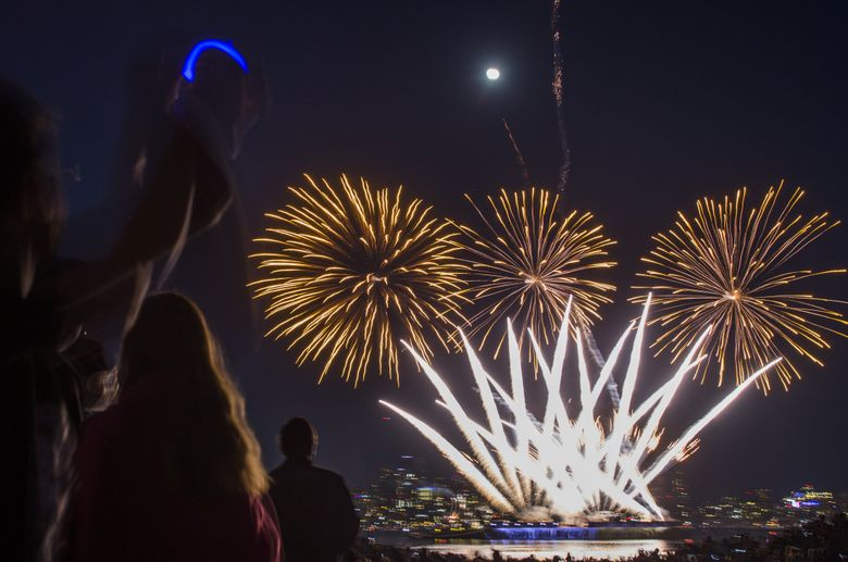 Spectators watch a multi-colored fireworks show at Gas Works Park's annual Seafair Summer 4th celebration. (Kjell Redal/The Seattle Times)
