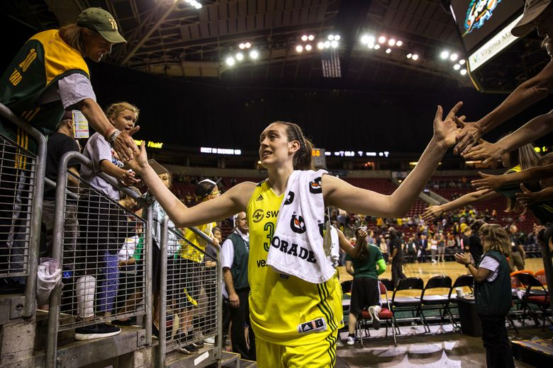 Breanna Stewart, pictured leaving the floor after a July 28 home game, is expected to move from power forward to small forward during Storm exhibition games against Phoenix this week. (Dean Rutz/The Seattle Times)