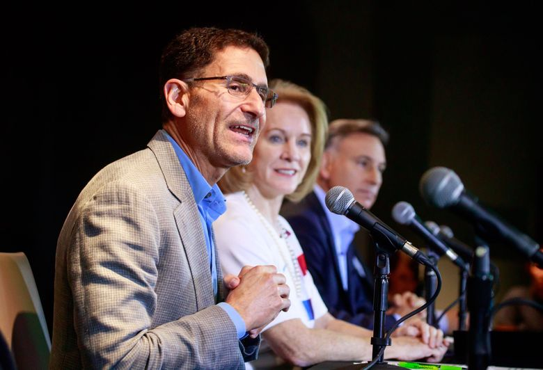 Adrian Hanauer, Seattle Sounders FC Owner, speaks at a press conference about the 2026 FIFA World Cup in Seattle's Pioneer Square neighborhood Wednesday.  (Erika Schultz / The Seattle Times)