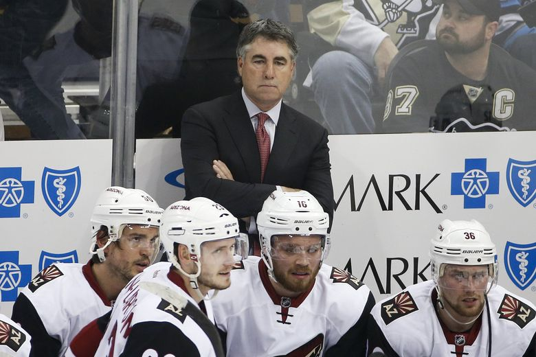Dave Tippett, pictured as then-Arizona Coyotes coach during a game against the Pittsburgh Penguins in 2016. (Gene J. Puskar / The Associated Press)