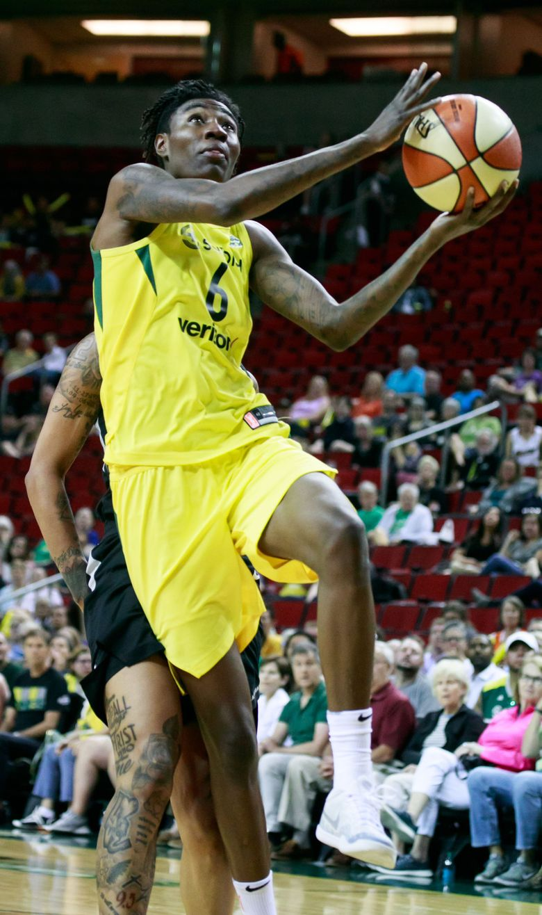 Seattle's Natasha Howard (6) drives to the basket during the fourth quarter of the Seattle Storm versus Las Vegas Aces game at KeyArena in Seattle Tuesday, June 19, 2018. — 206676 (Erika Schultz/The Seattle Times)