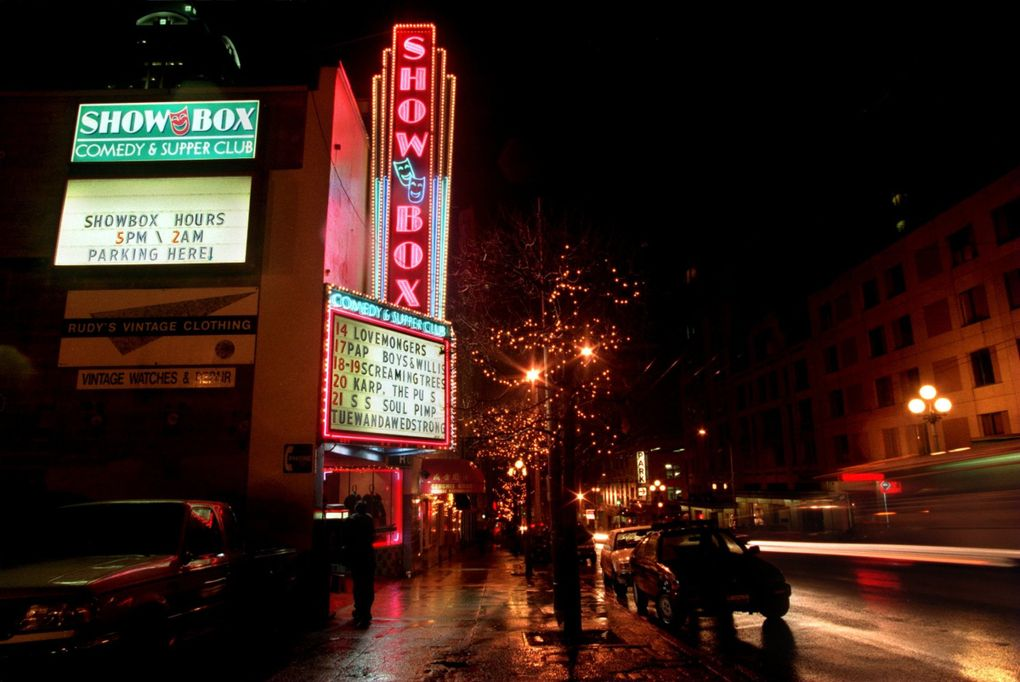 The building that houses the Showbox Comedy and Supper Club on First Avenue. The venue went through many changes, and names, over the years. (Rod Mar / The Seattle Times)