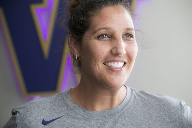 Jody Wynn, head coach of the University of Washington's women's basketball team, in her office at Alaska Airlines Arena at Hec Edmundson Pavilion Monday, July 30, 2018. (Bettina Hansen / The Seattle Times)