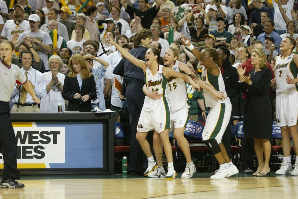 Led by Sue Bird and Lauren Jackson, the Seattle Storm won the 2004 WNBA title by beating Connecticut at KeyArena in the finals.   (Rod Mar / The Seattle Times)