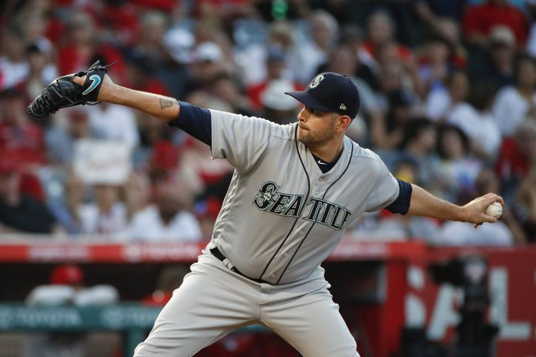 Seattle Mariners starting pitcher James Paxton throws to a Los Angeles Angels batter during the first inning of a baseball game Thursday, July 12, 2018, in Anaheim, Calif. (Jae C. Hong / The Associated Press)