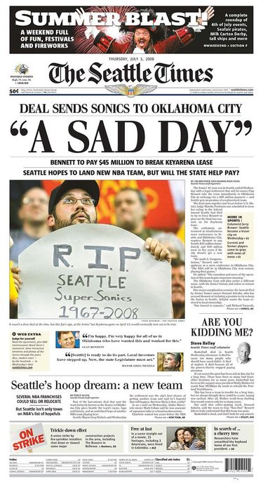 The front page of The Seattle Times on Thursday, July 3, 2008.