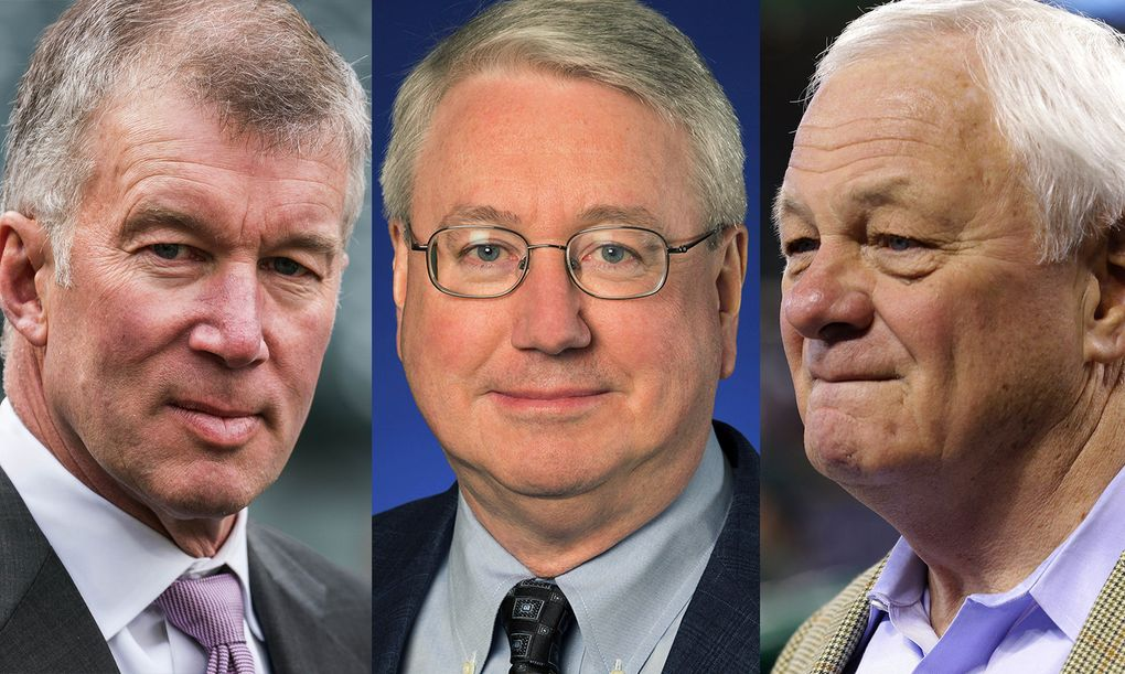 From left: Mariners CEO and President Kevin Mather, former Executive Vice President Bob Aylward and former President Chuck Armstrong are three club executives who were accused by women of inappropriate workplace conduct from 2009-10.  (Photo credits, left to right: Dean Rutz / The Seattle Times, Mariners, Ted S. Warren / Associated Press)