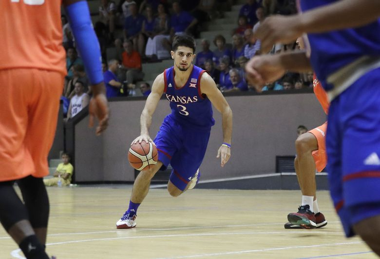 Kansas University's Sam Cunliffe goes for the basket during a basketball match between Kansas University and Italy All Star A2, in Seregno, near Milan, Italy, Sunday, Aug. 6, 2017. (AP Photo/Antonio Calanni)