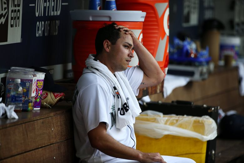 With the Astros way up, Mariners starting pitcher Marco Gonzales in the dugout after being taken out of the game in the disastrous fourth inning for the M's, Wednesday Aug. 22, 2018, at Safeco Field in Seattle. (Ken Lambert / The Seattle Times)