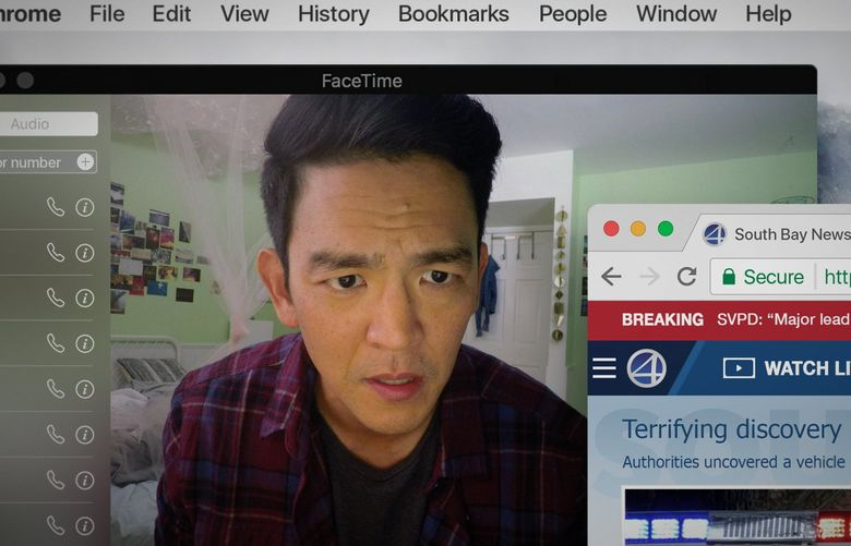 """John Cho plays a father desperately trying to find his missing daughter in the thriller """"Searching,"""" set entirely in the digital world. (Sebastian Baron)"""