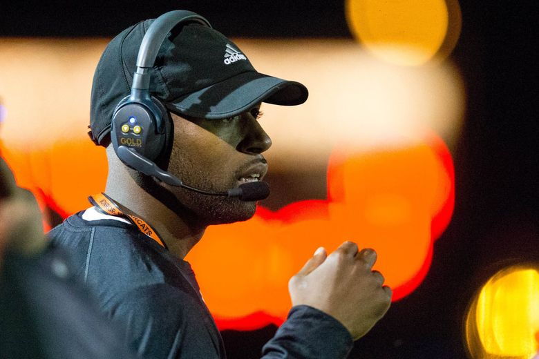 Monroe High School head coach Michael Bumpus is coming off one of the most successful seasons in school history. (Courtney Pedroza / The Seattle Times)