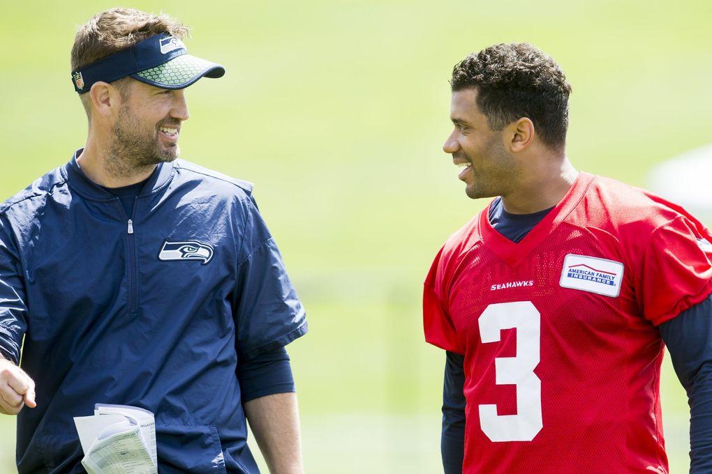 Offensive coordinator Brian Schottenheimer has established a good rapport with Seahawks quarterback Russell Wilson. (Bettina Hansen / The Seattle Times)