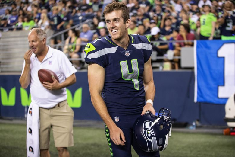 Seahawks punter Michael Dickson during their first preseason game of 2018 against the Indianapolis Colts at CenturyLink Field. (Dean Rutz / The Seattle Times)