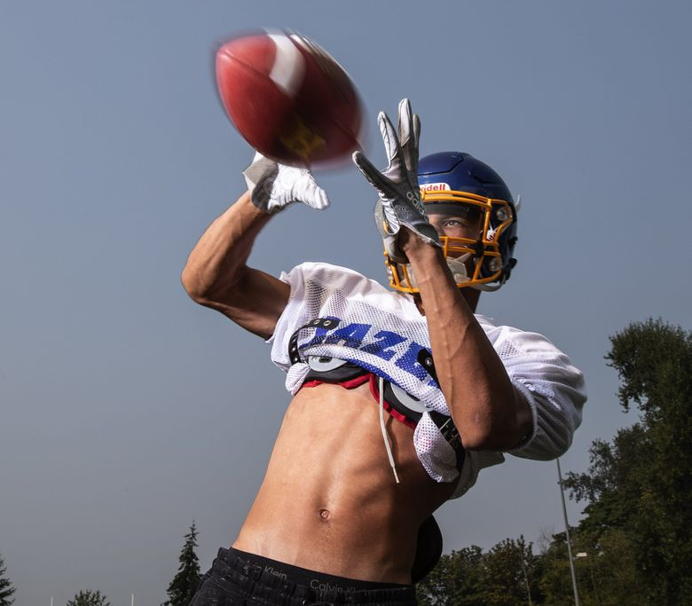 Corbin Walker will be a threat on either side of the football for Hazen. 207486 (Dean Rutz / The Seattle Times)