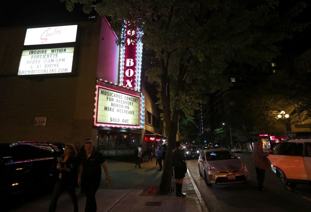 The Showbox, open since 1939, has hosted big acts from the jazz age to the grunge era to today's pop stars. It is shown here on May 10, 2018. (Dean Rutz / The Seattle Times)