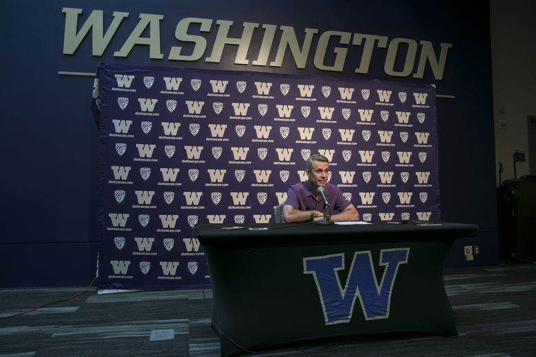 Chris Petersen, head coach for the University of Washington football team, gives a preview for the season Thursday August 2, 2018 at Alaska Airlines Arena at Hec Edmundson Pavilion in Seattle. (Bettina Hansen/The Seattle Times)
