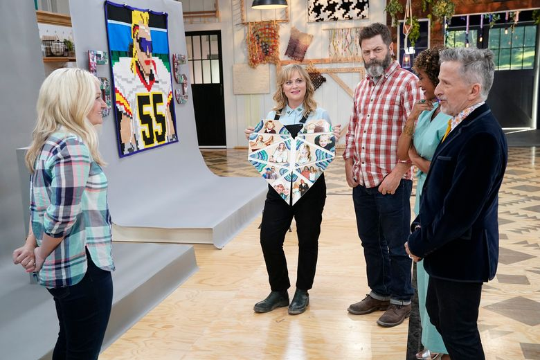 """Former """"Parks and Recreation"""" co-stars Amy Poehler and Nick Offerman, second and third from left, are together again, now as hosts of the crafting competition """"Making It.""""  (NBC/Paul Drinkwater/NBC)"""