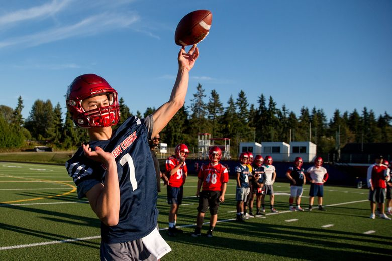 Kennedy Catholic quarterback Sam Huard has combined to throw for more than 7,500 yards and 76 touchdowns as a freshman and sophomore. (Courtney Pedroza / The Seattle Times)