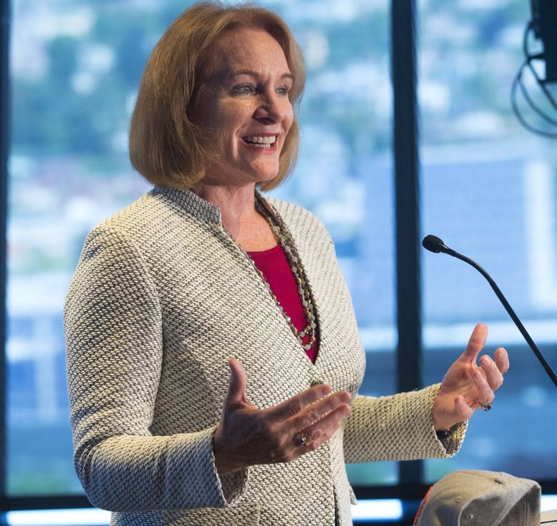 Seattle Mayor Jenny Durkan speaks at an announcement of the NHL Seattle minority owners Thursday at the Space Needle. (Mike Siegel / The Seattle Times)