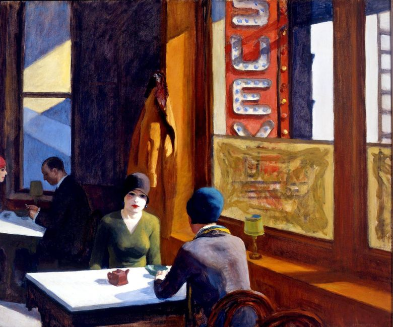"""Edward Hopper's """"Chop Suey"""" sold at a Christie's auction for $91.9 million, an auction record for the artist. (Collection of Mr. and Mrs. Barney A. Ebsworth)"""