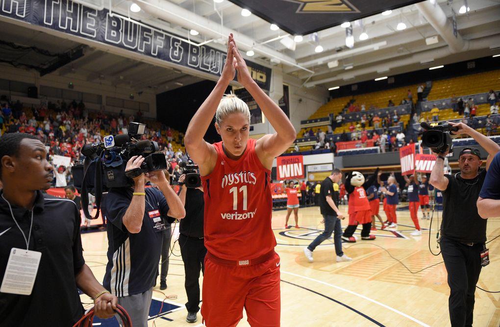 Washington Mystics guard Elena Delle Donne celebrates after a single-elimination WNBA playoff game against the Los Angeles Sparks on Aug. 23 in Washington. The Mystics won, 96-64. (Nick Wass / Associated Press)