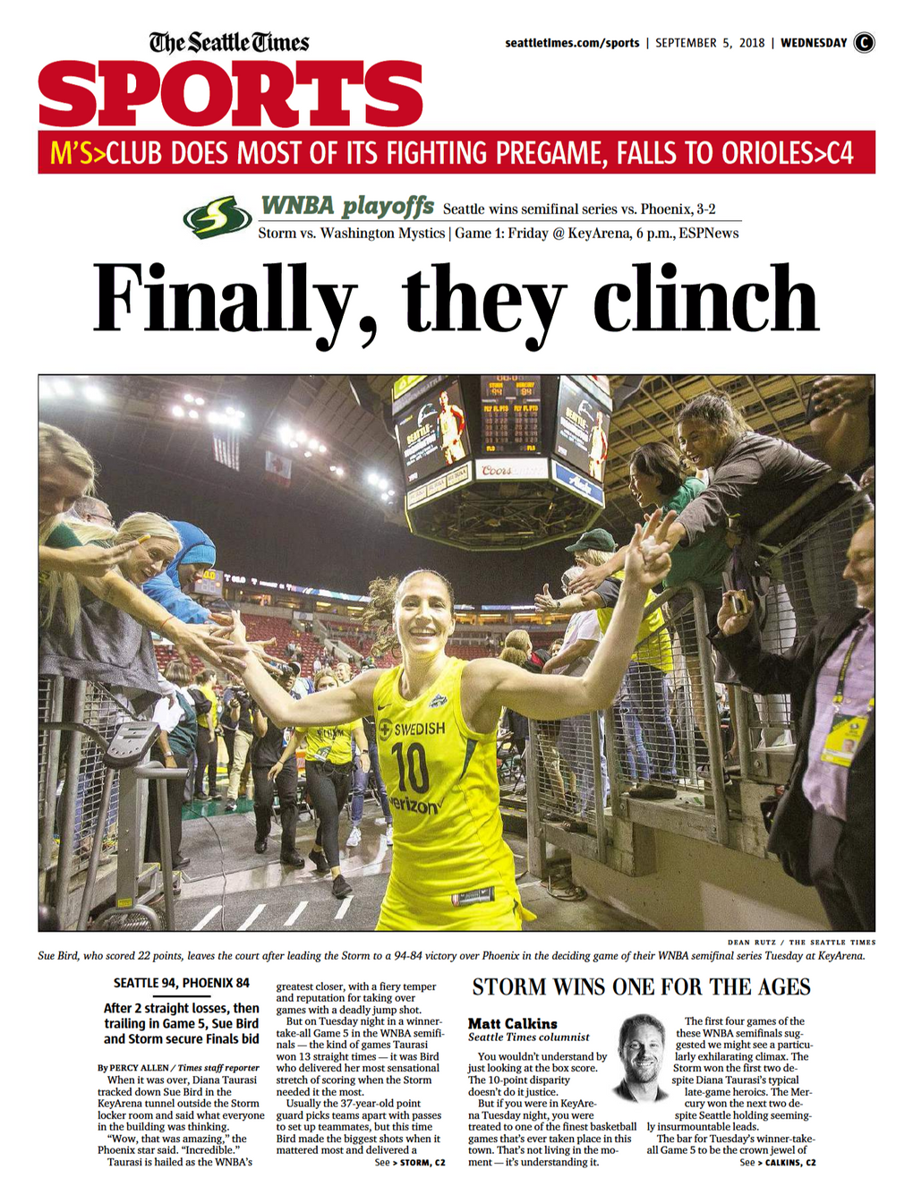 The front of The Seattle Times sports section Wednesday, Sept. 5, 2018, the day after the Storm clinched a spot in the WNBA Finals.