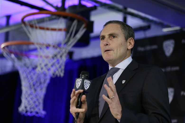 Pac-12 Commissioner Larry Scott speaks during the Pac-12 NCAA college basketball media day Thursday, Oct. 11, 2018, in San Francisco. (AP Photo/Eric Risberg) CAER101 CAER101 (Eric Risberg / The Associated Press)