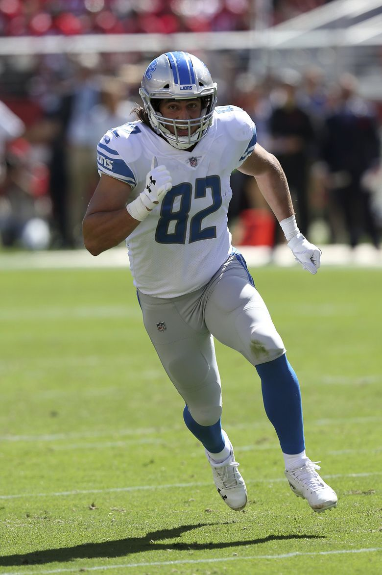 Detroit Lions tight end Luke Willson runs a route during an NFL football game against the San Francisco 49ers on Sunday, Sept. 16, 2018, at Levi's Stadium in Santa Clara, CA. The Niners won 30-27. (Daniel Gluskoter / The Associated Press)