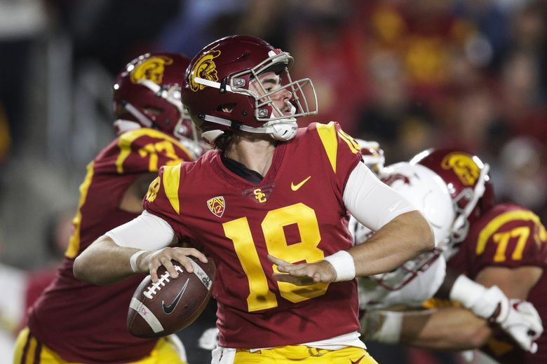 Southern California quarterback JT Daniels looks for a receiver during the first half of the team's NCAA college football game against the Washington State, Friday, Sept. 21, 2018, in Los Angeles. (AP Photo/Jae C. Hong) CAJH105 CAJH105 (Jae C. Hong / The Associated Press)