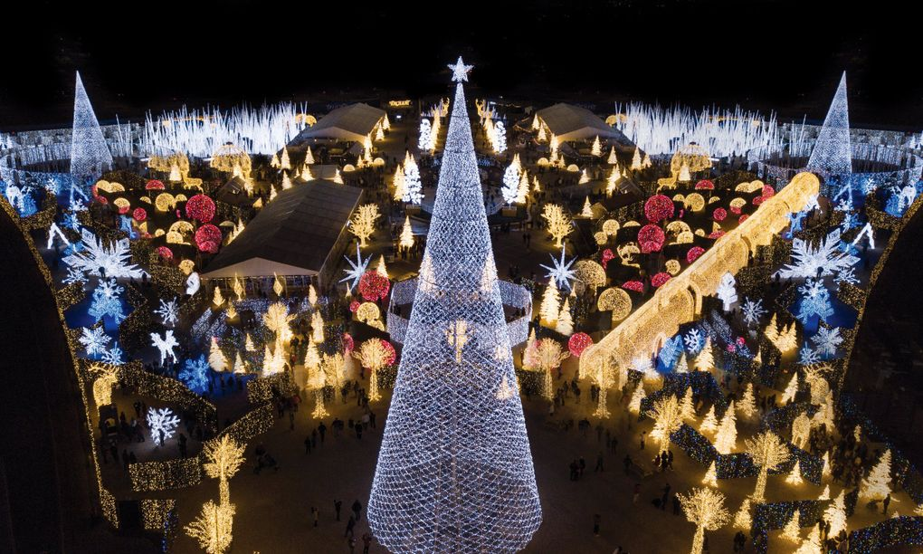 Enchant Christmas, which features a light maze — such as this one, seen in an overhead view, in Arlington, Texas, last year — comes to Safeco Field starting Nov. 23. (Courtesy of Enchant Christmas)