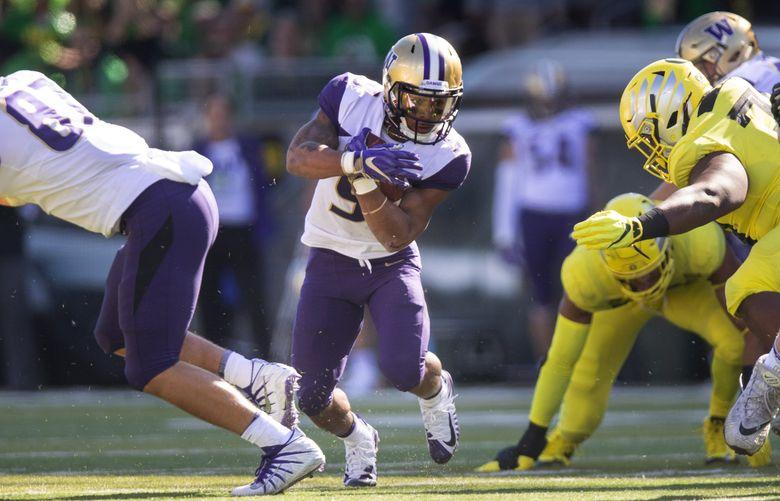 Washington running back Myles Gaskin. (Dean Rutz / The Seattle Times)