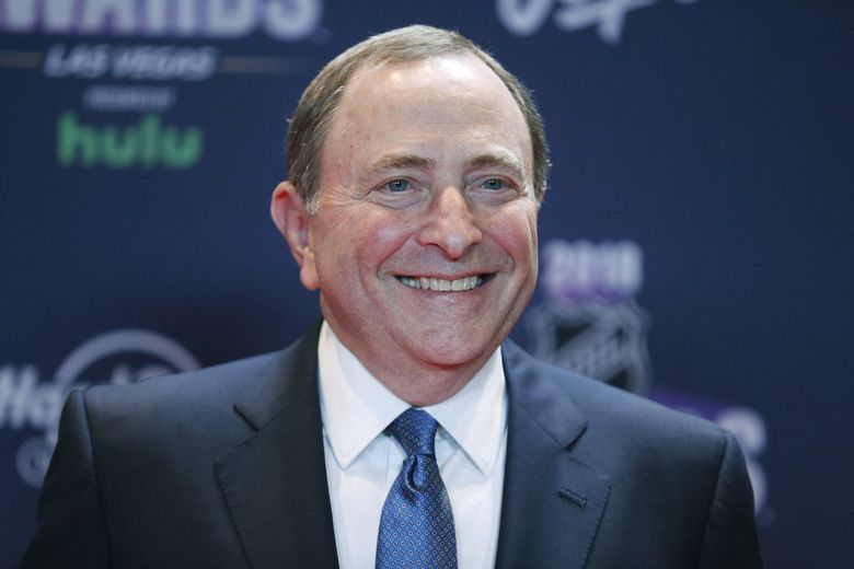 In this June 20, 2018, file photo, Gary Bettman, commissioner of the National Hockey League, poses on the red carpet before the NHL Awards in Las Vegas. (AP Photo/John Locher, File) NYAG701 NYAG701 (John Locher / The Associated Press)