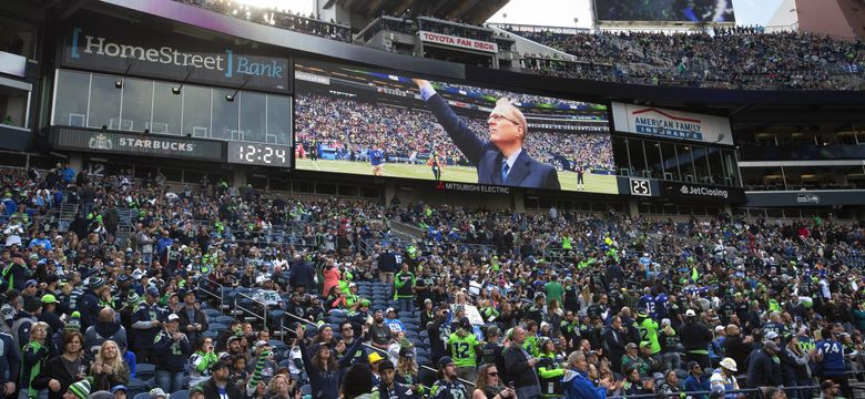 Paul Allen was honored before the game as the Seattle Seahawks play the Los Angeles Chargers at CenturyLink Field in Seattle on November 4th, 2018. (Mike Siegel / The Seattle Times)