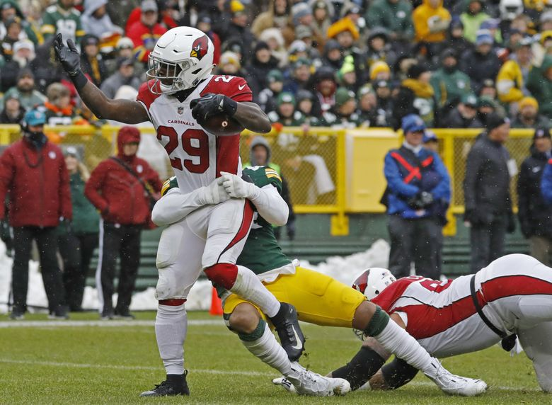 Arizona Cardinals running back Chase Edmonds (29) rushes for a touchdown during the first half of an NFL football game against the Green Bay Packers Sunday, Dec. 2, 2018, in Green Bay, Wis. (AP Photo/Jeffrey Phelps) WIML114 WIML114 (Jeffrey Phelps / The Associated Press)
