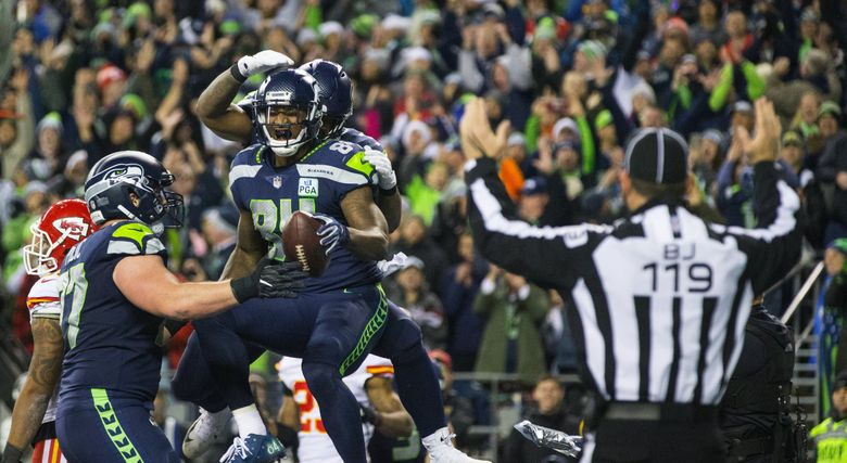 Seattle Seahawks tight end Ed Dickson (84) celebrates his 4th quarter touchdown as the Seattle Seahawks play the Kansas City Chiefs at CenturyLink Field in Seattle on December 23, 2018. (Mike Siegel / The Seattle Times)