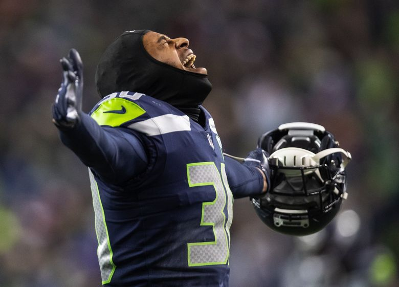 Seattle safety Bradley McDougald celebrates a Kansas City fumble – recovered by Seattle – with :10 left in the first half.  The Kansas City Chiefs played the Seattle Seahawks Sunday, December 23, 2018 at CenturyLink Field in Seattle, WA. 208825 (Dean Rutz / The Seattle Times)