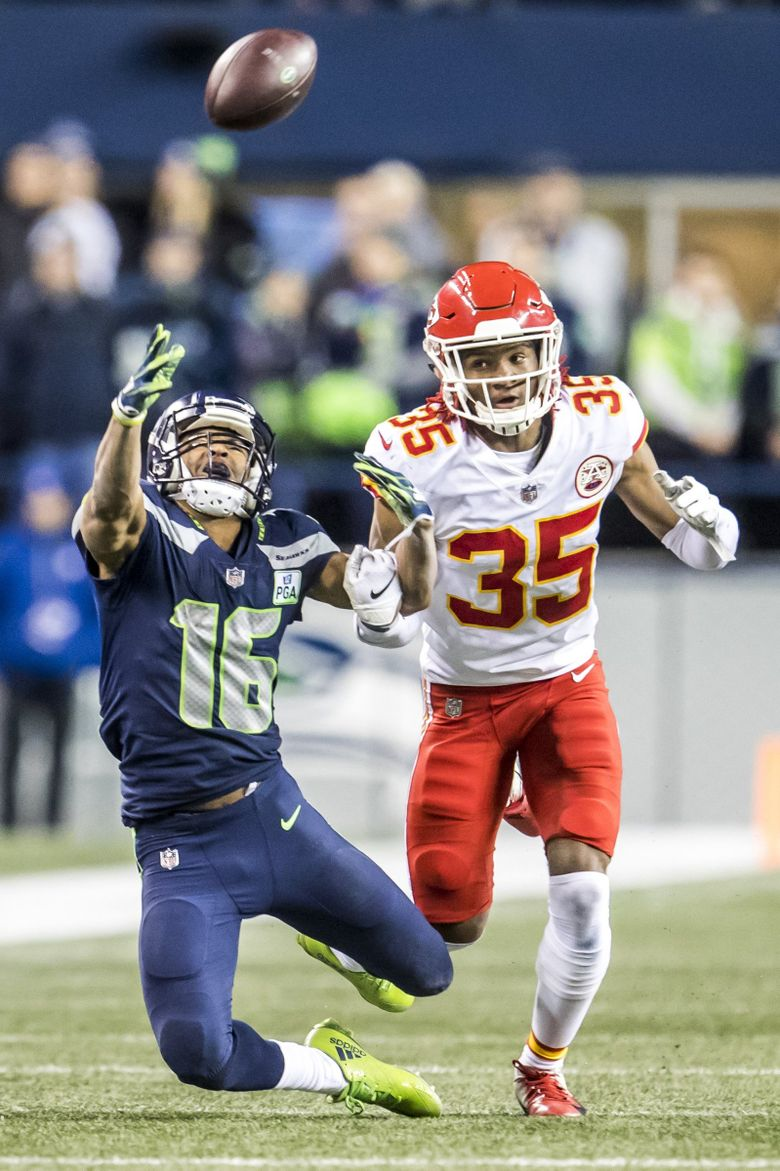 Chiefs cornerback Charvarius Ward gets called for pass interference on Seahawks wide receiver Tyler Lockett in the second quarter as the Seattle Seahawks take on the Kansas City Chiefs at CenturyLink Field in Seattle Sunday December 23, 2018. (Bettina Hansen / The Seattle Times)