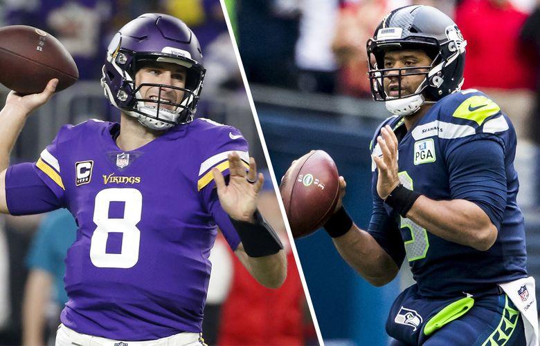 Vikings quarterback Kirk Cousins, left, and Seahawks quarterback Russell Wilson. (AP/Seattle Times photos)