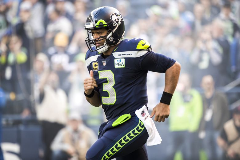 Seahawks quarterback Russell Wilson comes out for introductions before the Seattle Seahawks take on the Los Angeles Chargers at CenturyLink Field in Seattle Sunday November 4, 2018. (Bettina Hansen / The Seattle Times)