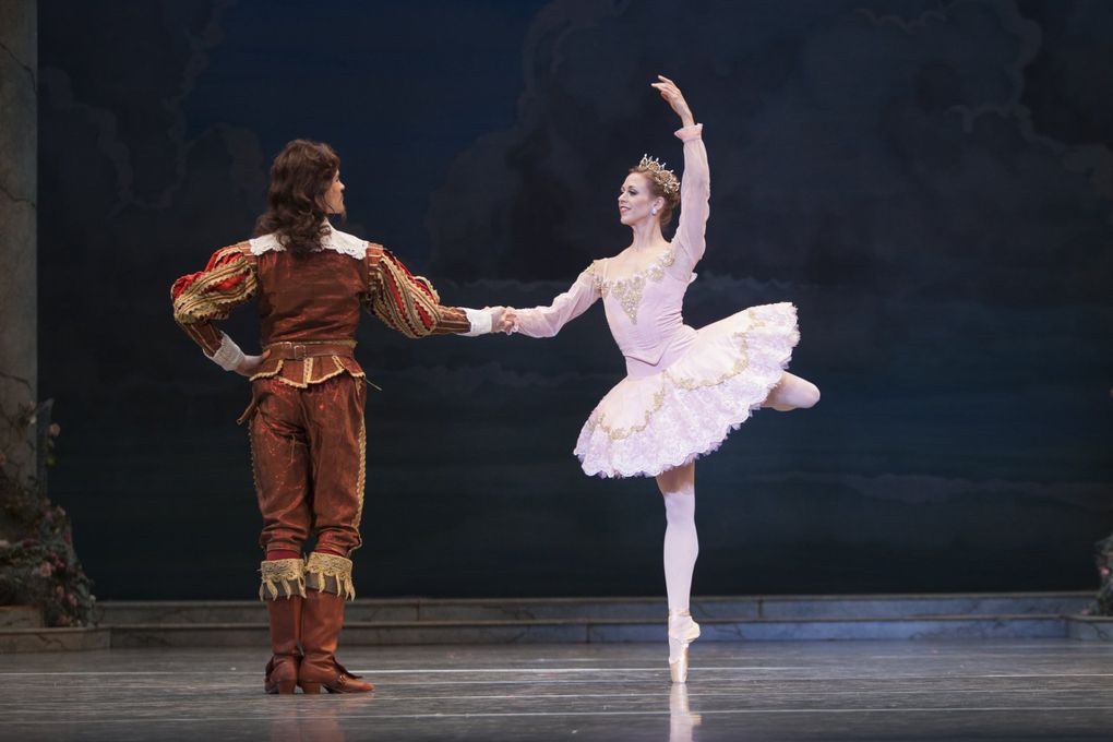 """Pacific Northwest Ballet principal dancer Lesley Rausch as Princess Aurora and soloist Steven Loch as a suitor in Ronald Hynd's """"The Sleeping Beauty."""" (Angela Sterling)"""