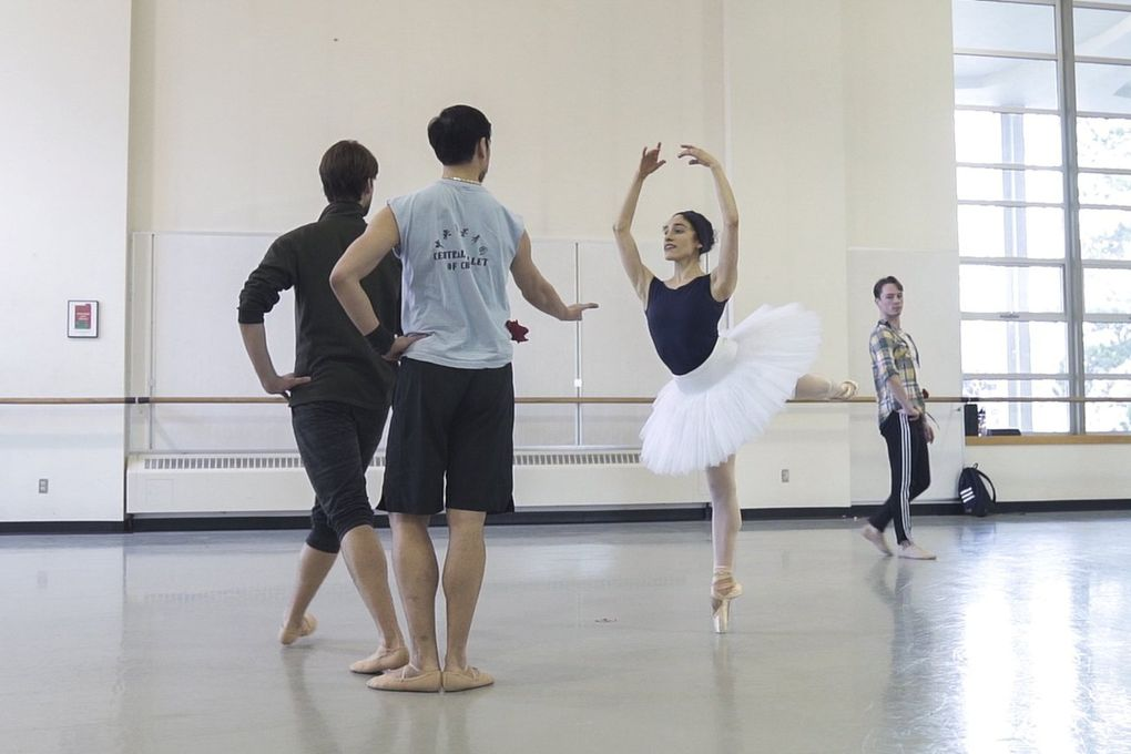 """Pacific Northwest Ballet principal dancer Leta Biasucci rehearses the Rose Adagio from """"The Sleeping Beauty."""" (Corinne Chin / The Seattle Times)"""