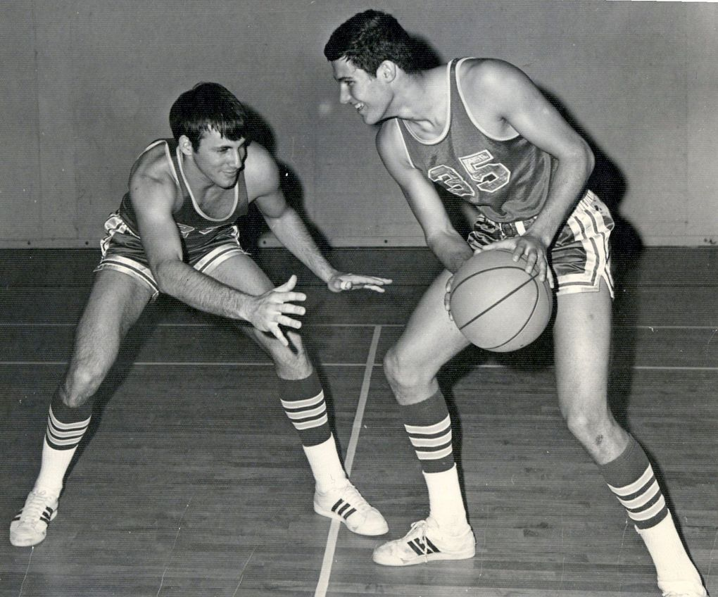 """""""We really didn't have a lot of offense. Our offense was our press,"""" recalled Jay Inslee, shown here with teammate Ed Kamins.  (Courtesy of Jay Inslee)"""